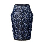 Bloomingville vaas square structure donker blauw