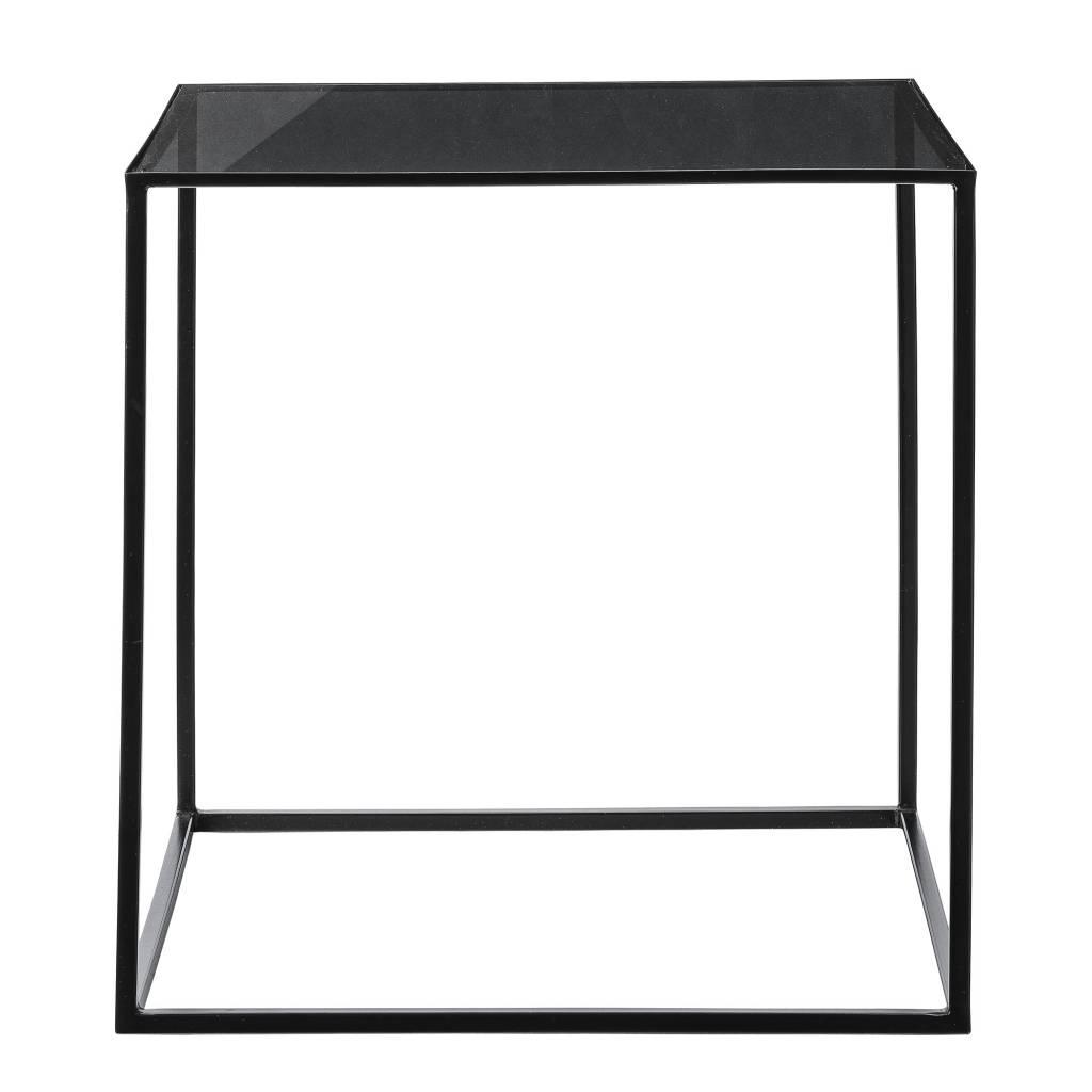 Bloomingville Tafel Vierkant Zwart met Glas   Towntje nl